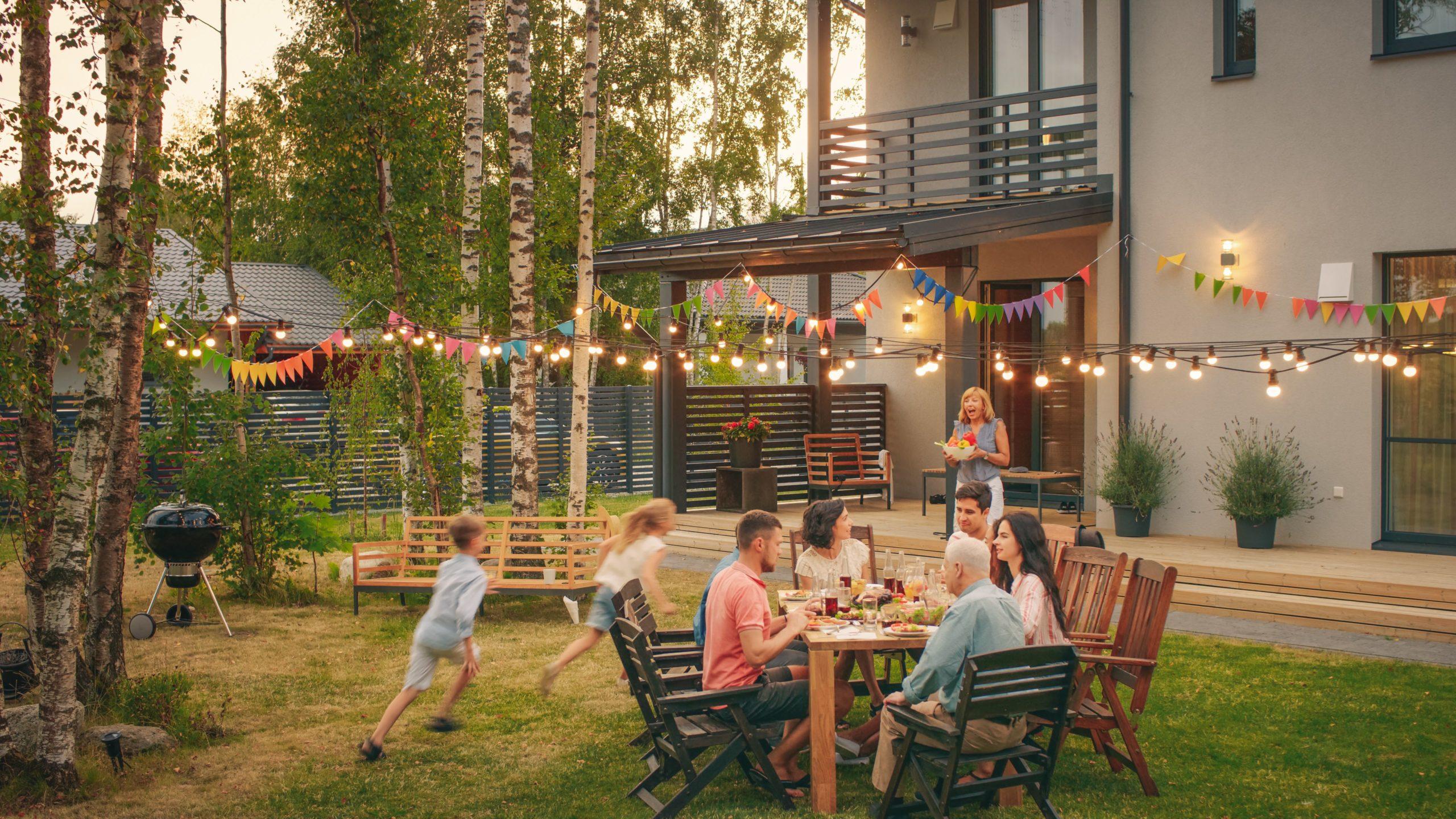 A family having a backyard barbecue
